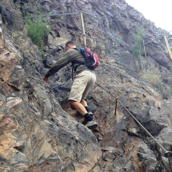 Ryder climbing the mountain