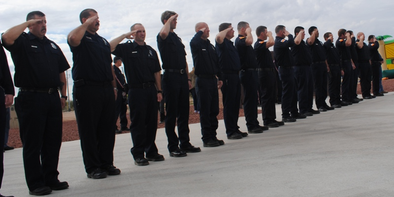 firefighters salute