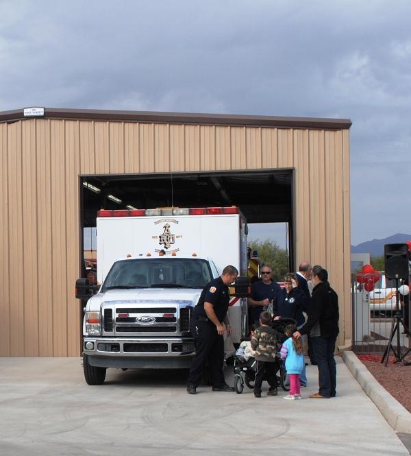 residents looking at Ambulance