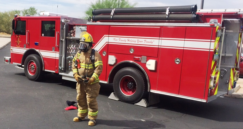 FF Bowden suited with SCBA